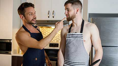 Thyle Knoxx needs help baking some cookies so he wakes up his stepdad Dale Kuda and begs him to help him out. Dale agrees and they both head to the kitchen to start baking.