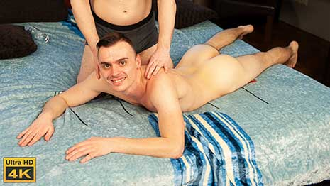 Valer Starek looks so good as he strips down to his underwear and lays, face down, on the bed to await his massage. The masseur arrives and soon gets to work, taking oil into his hands and massaging Valer's shoulders.