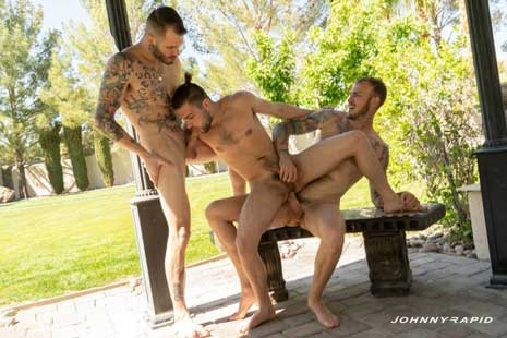 Johnny Rapid and tattooed hunk Christian Wilde don't wait for their third to arrive before they start kissing and Johnny begins sucking Christian's cock, but Johnny Hill gets there in plenty of time...
