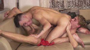 Tommy Poulain wants to relax after a hard day, so he decides to lay down and stroke his cock. Still, he is surprised by Bjorn Nykvist as he didn't expect him.